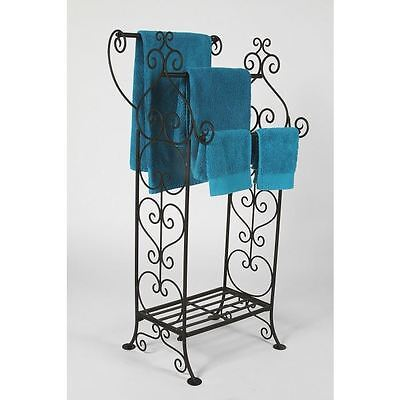 Scroll Detail Towel Rail for 3 and Stand - Black and Chrome