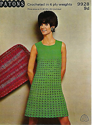 """LADIES CROCHET PATTERN LOVELY VINTAGE 4ply DRESS 3 SIZES 32-36"""" BUST"""