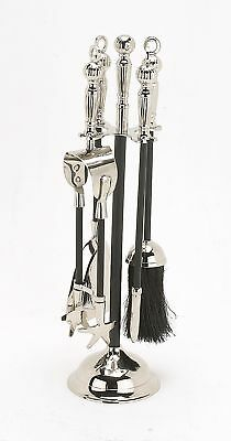 Tudor Fire side Companion Set Poker Tool Set - Nickel & Black Iron