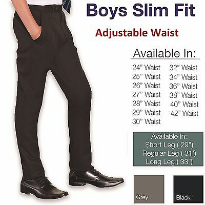 Boys Slim Fit School Trousers Smart Black Grey Navy Skinny Adjustable Waist