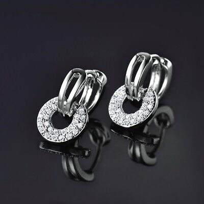 MODOU 18K white gold filled Swarovski crystal fashion womens dangle earrings