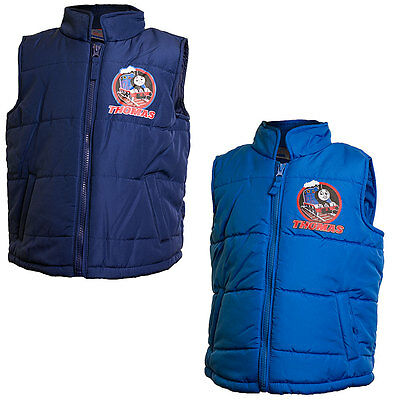 Boys Thomas & Friends Novelty Character Zip Up Padded Lined Bodywarmer Gilet