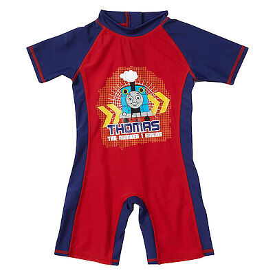 Thomas & Friends Boys One Piece Summer Sunsafe Swimsuit UPF40+ Navy Red 1-6yrs