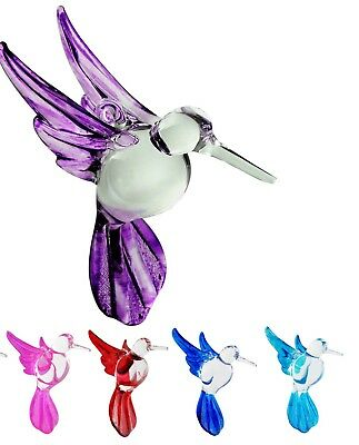 Hummingbird Ornament Crystal Glass Blown Figurine Solid Colors Clear Body Birds