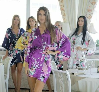 Silk Short/long Wedding Bride Bridesmaid Robe Women Floral Bathrobe Kimono Robe