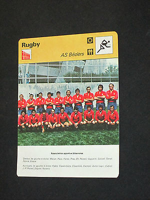 SPORTSCASTER FICHE CHAMPION RUGBY  AS BEZIERS   1975-1976 ( maillot )