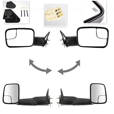 For 98-02 Dodge Ram Pickup Tow Power Heated Folding Mirrors Set Tow Black Pair