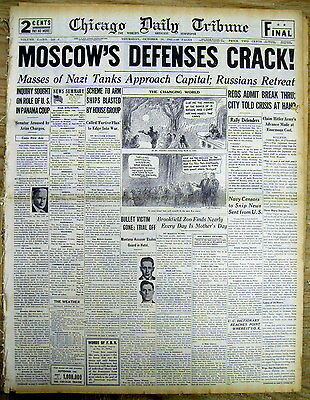 3 1941 WW II hdl newspapers BATTLE OF MOSCOW Russia BEGINS German troops advance