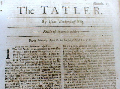 Rare original 1710 London ENGLAND newspaper THE TATLER by Isaac Bickerstaff