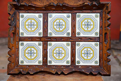 Vintage MEXICAN 6 TILE HANDLED TRAY CARVED WOOD FRAME MEXICO