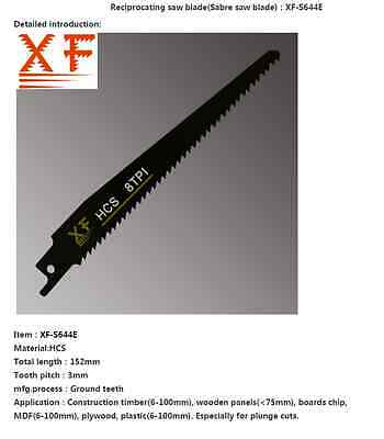 8TPI  152mm HIGH CARBON STEEL Reciprocating Saw Blades for WOOD - S644E