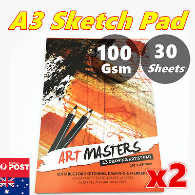 2x A3 30 pages Art Artist Sketchbook Sketch Pad Paper Journal Drawing Craft