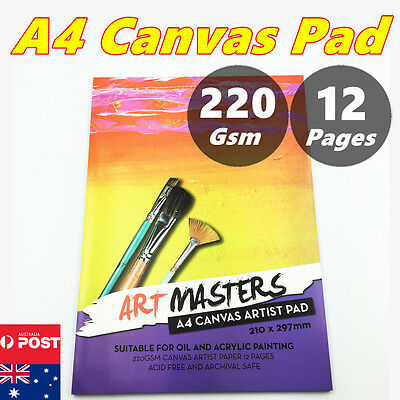 A4 220gsm Art Artist Canvas Pad Paper Journal Craft for Oil Acrylic Painting