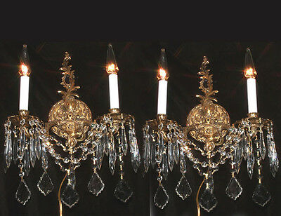 2 Vintage Bronze Brass Crystal Wall lamp Sconce ROCOCO French Spanish lighting f