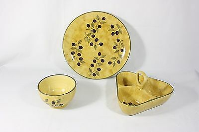 222 Fifth OLIVES Dinner Plate, Bowl and Relish Dish