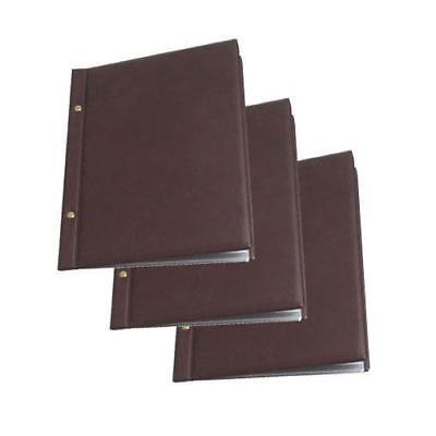 20x Classic Menu Cover with Brass Interscrews, Burgundy A4 10 Pockets NEW