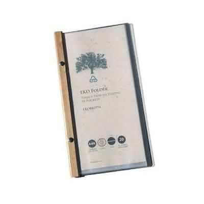 EKO Narrow Folder, Timber Trim, 10 Pockets, Restaurant Menu / Eco Friendly NEW