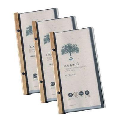 5x EKO Narrow Folder, Timber Trim, 10 Pockets, Restaurant Menu Eco Friendly NEW