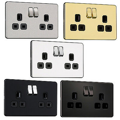 EXCLUSIVE PROMO Flat plate Screwless 2 Gang 13A Switched Socket