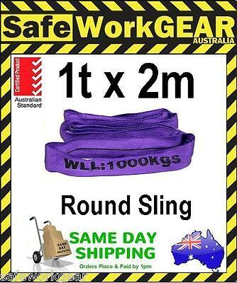(2 Pack) 1 Tonne x 2 Metre Round Lifting Sling Purple Polyester