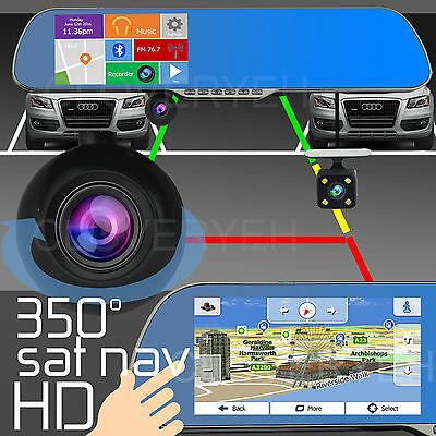 "HD 1080p 5"" IPS LCD Android GPS Navigation WiFi Car DashCam Rearview Mirror"