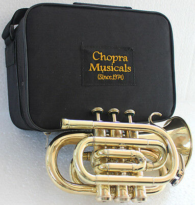 TRUMPET POCKET Bb SHINNING BRASS WITH BAG 7C MOUTH PIECE FAST SHIP 150616
