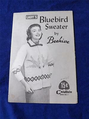 Ladys Bluebird Sweater  By Beehive Knitting Pattern Chieftain No. 7 Vintage