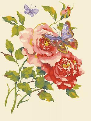 Grafitec Printed Tapestry/Needlepoint Canvas – Pink Roses & Butterfly