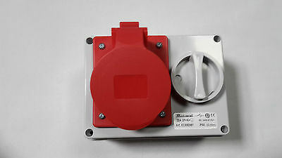 CEE Interlocked Rotary Isolation Switch Socket RED 3 phase 415V 16A,32A 5 pin