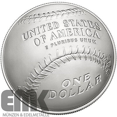 USA - National Baseball Hall of Fame - 1 Dollar 2014 - Silber in Stempelglanz