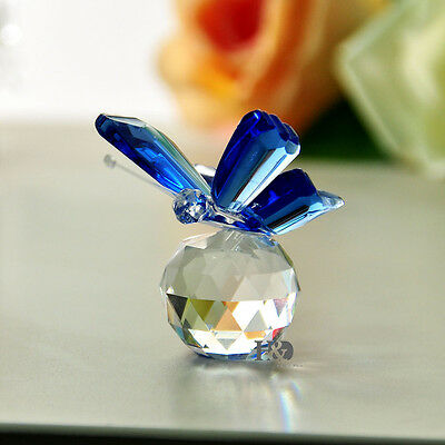 Wholesale Blue Butterfly Crystal Paperweight Figurine Glass Wedding Lady Gift