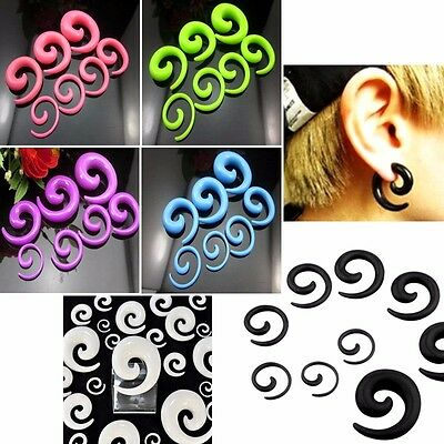 2 Acrylic Spiral Taper Flesh Tunnel Ear Stretcher Expander Stretching Plug Snail