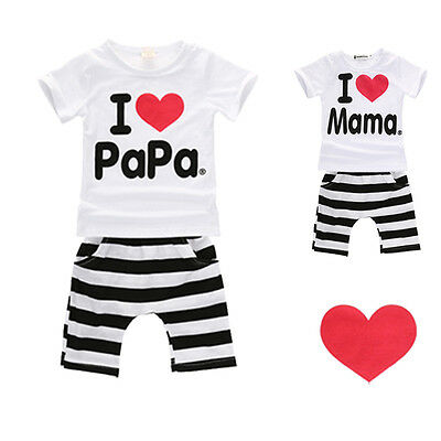 Toddler Baby Twins Boy Girls Casual T-shirt Tops+Pants 2PCS Outfits Clothing Set