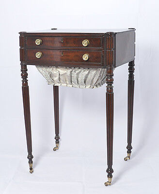 Antique American Federal Work Table/Sewing Stand, Boston,Seymour,Mahogany 1810