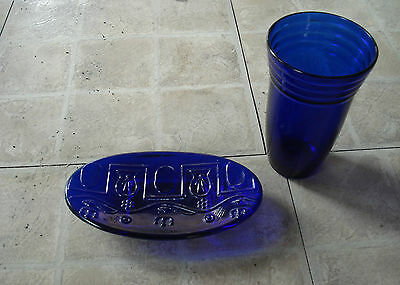 Gentleman's cobalt blue glass + soap dish, Modernist Art, Greek male symbols.