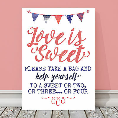 Pretty Lilac /& Pink Bunting Love Is Sweet Candy Buffet Table Sign LIB3