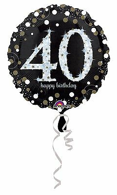 Black Sparkling Celebration 40th Happy Birthday 18 Party Foil Helium Balloon