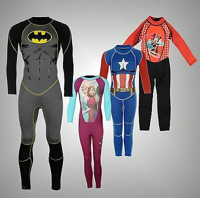 Kids Boys Girls Character Full Length Legs Wetsuit Water Sports Size Age 2-13