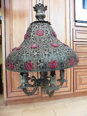 Antique Chandelier Light Fixture Bohemian Filigree Shade Red Crystal Flowers