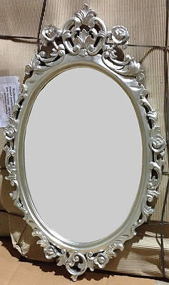 Oval Mirror - Carved with Silver Leaf