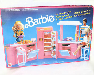 Vintage RARE 1990 BARBIE KITCHEN PLAY SET Mattel Brand New in Box no.8754 Boxed