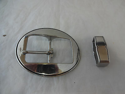 """Jeremiah Watt Oval Buckle Keeper Set 1 1/2"""" Smooth Grooved Horse Belt Bridle New"""