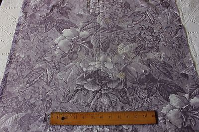 English Or French Purple Early 19thC Luscious Floral Roses & Hydrangeas Fabric