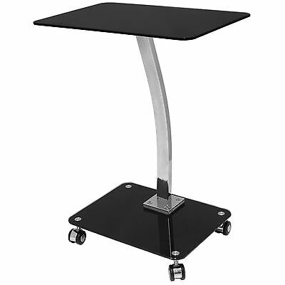 Portable Home Office Black Glass Laptop Side Table With Wheels