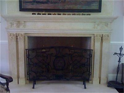 Beautiful Hand Carved Marble Estate Fireplace Mantel - Pr1