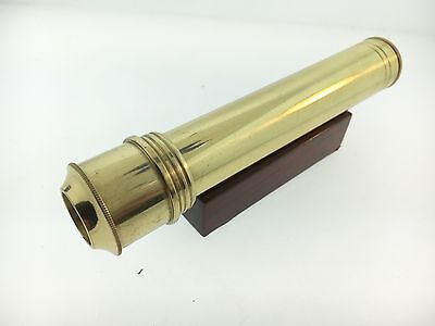 5 1/4 Inch Brass Lacquered Coated 3 Mirror System Kaleidoscope with Wood Base