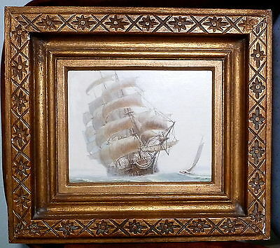 Magnificent FRAMED ANTIQUE MARITIME OIL PAINTING of SCHOONER~Mid-1800s FOLK ART