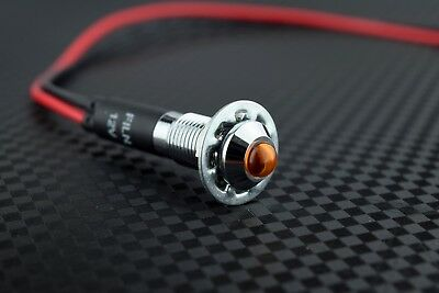 8mm 12v Amber LED Metal Indicator Light | Pilot Dash Pre-Wired LED - US Seller