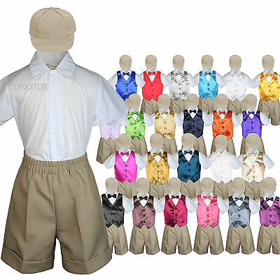 Baby Boys Toddler Formal Vest Shorts Suit Satin Vest Bow Tie 5pc Khaki Set S-4T