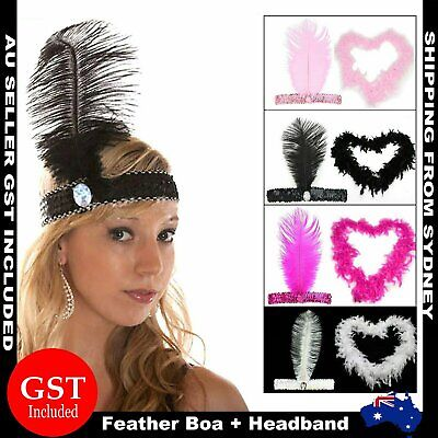1920s 20s 2M Ostrich Feather Boa + Headband Sequin Flapper Headpiece Costume